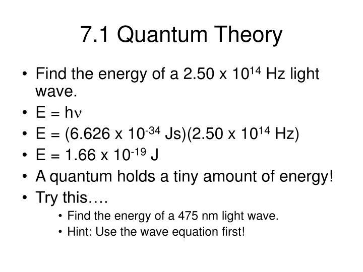 7.1 Quantum Theory