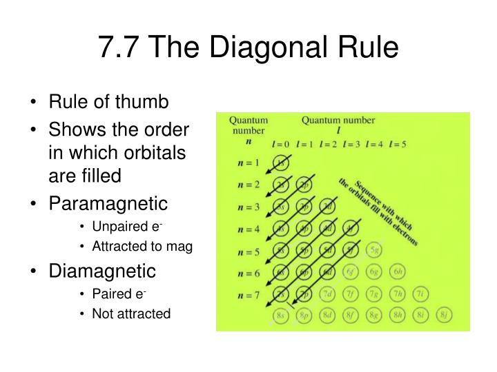 7.7 The Diagonal Rule