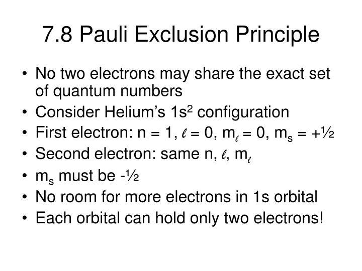 7.8 Pauli Exclusion Principle