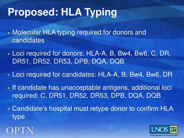 Proposed: HLA Typing