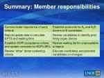 summary member responsibilities