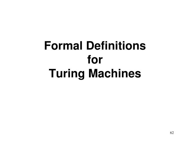 Formal Definitions