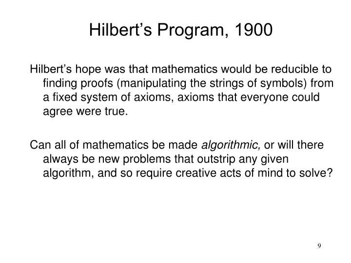 Hilbert's Program, 1900
