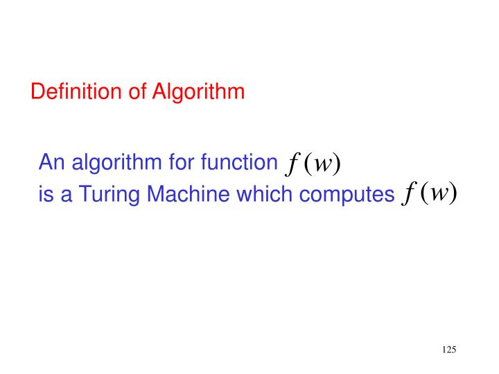 An algorithm for function