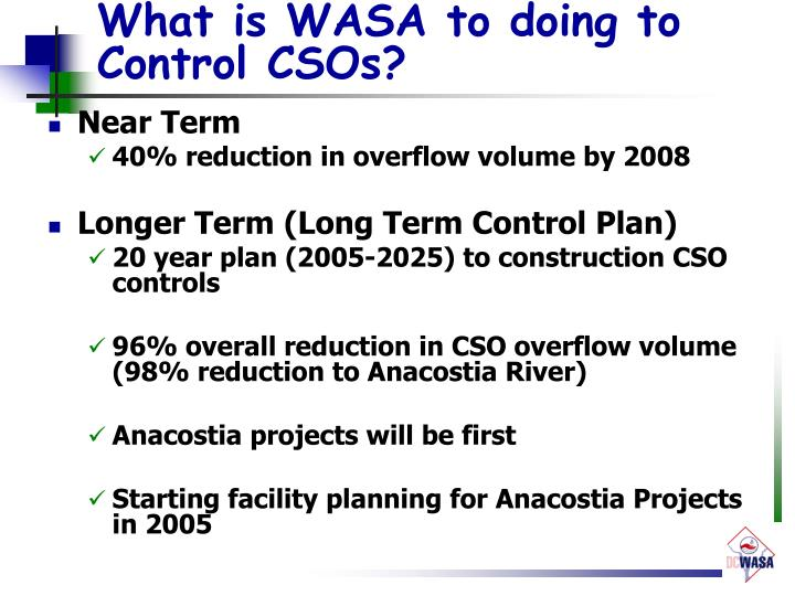 What is WASA to doing to Control CSOs?