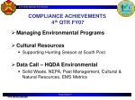 compliance achievements 4 th qtr fy07
