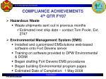 compliance achievements 4 th qtr fy071
