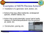 examples of nepa review actions