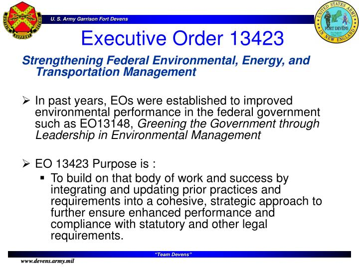 Strengthening Federal Environmental, Energy, and Transportation Management