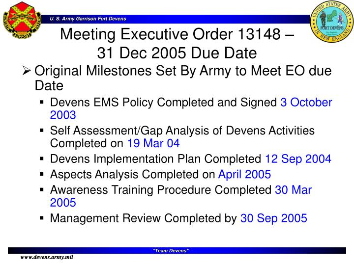 Original Milestones Set By Army to Meet EO due Date