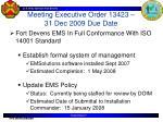 meeting executive order 13423 31 dec 2009 due date