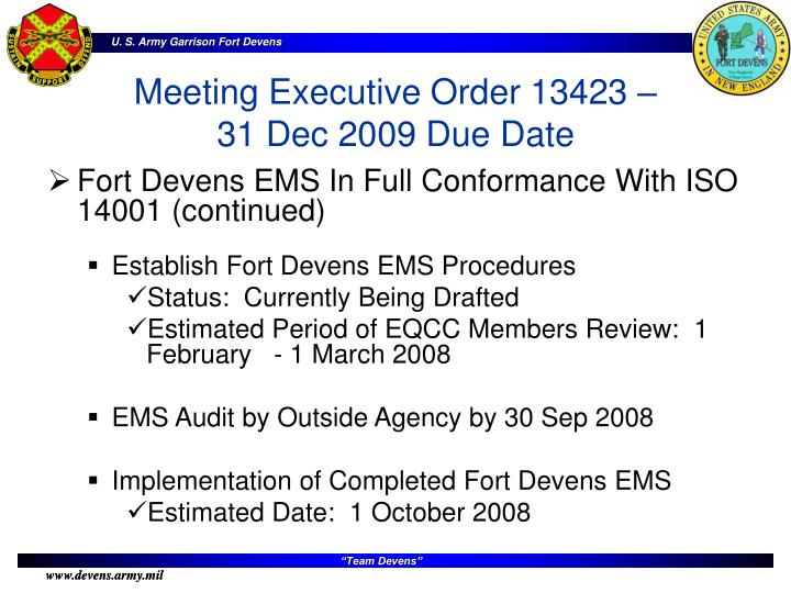 Fort Devens EMS In Full Conformance With ISO 14001 (continued)