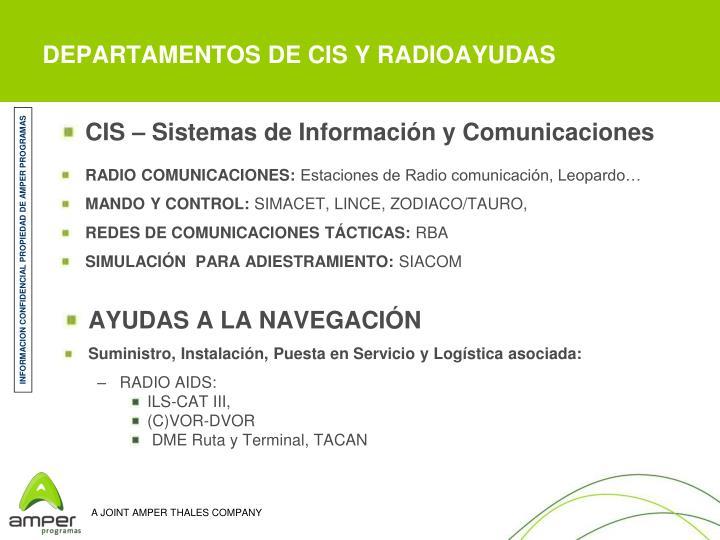 DEPARTAMENTOS DE CIS Y RADIOAYUDAS