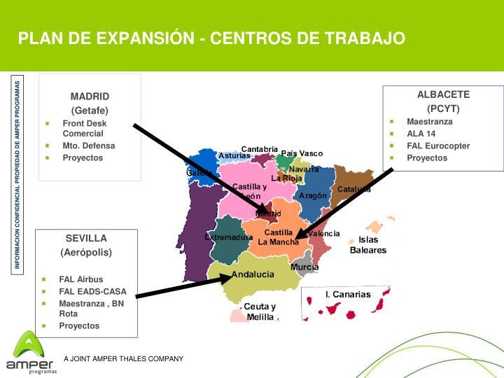 PLAN DE EXPANSIÓN - CENTROS DE TRABAJO