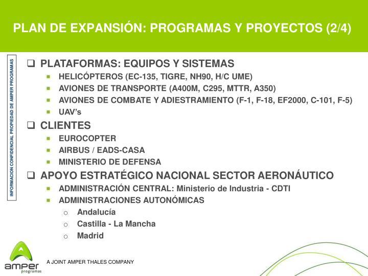 PLAN DE EXPANSIÓN: PROGRAMAS Y PROYECTOS (2/4)