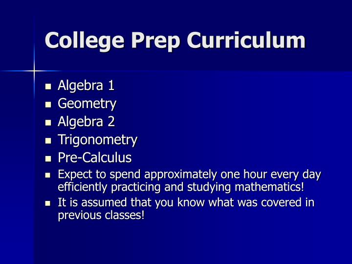 College Prep Curriculum