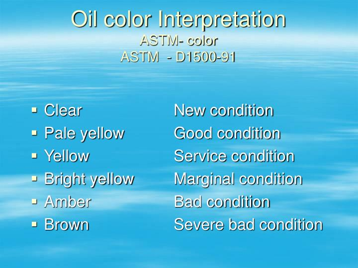 Oil color Interpretation