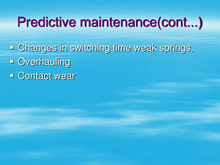 Predictive maintenance(cont...)