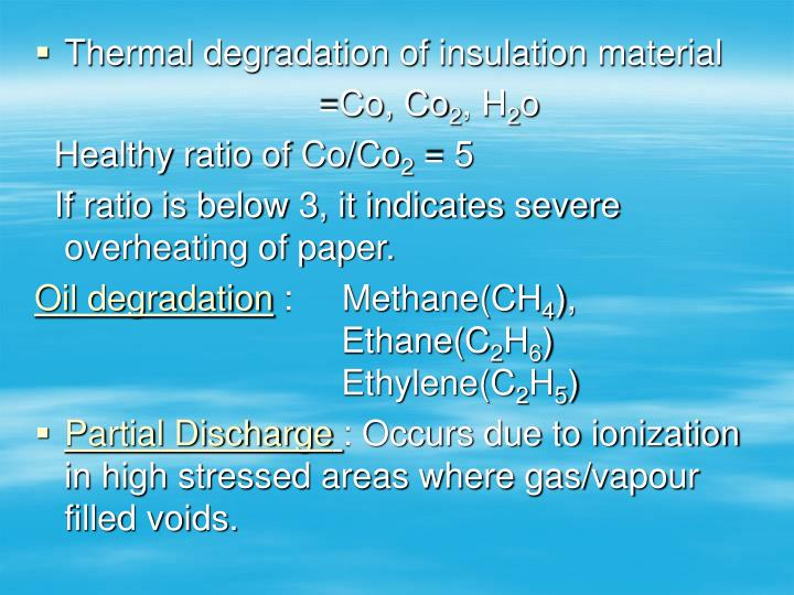 Thermal degradation of insulation material