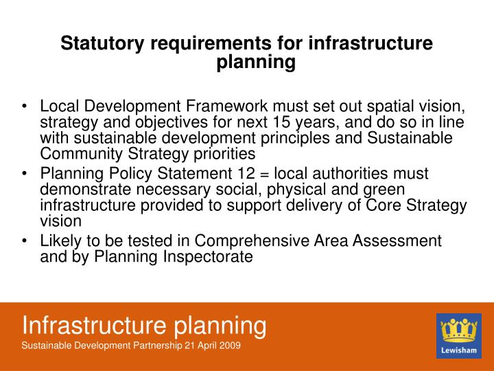 Statutory requirements for infrastructure planning