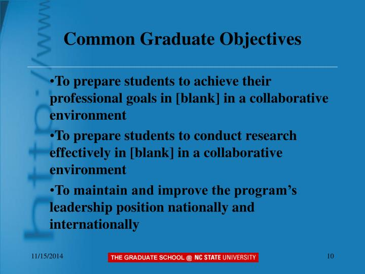 Common Graduate Objectives