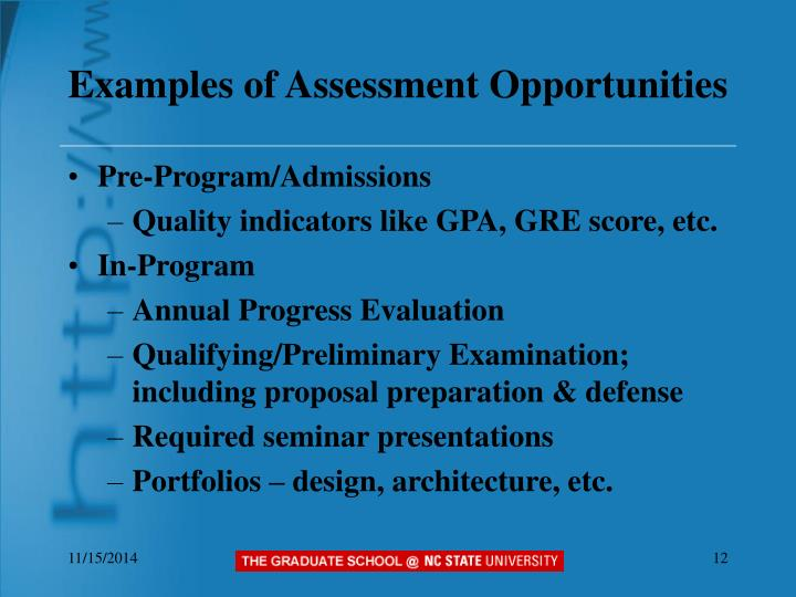 Examples of Assessment Opportunities
