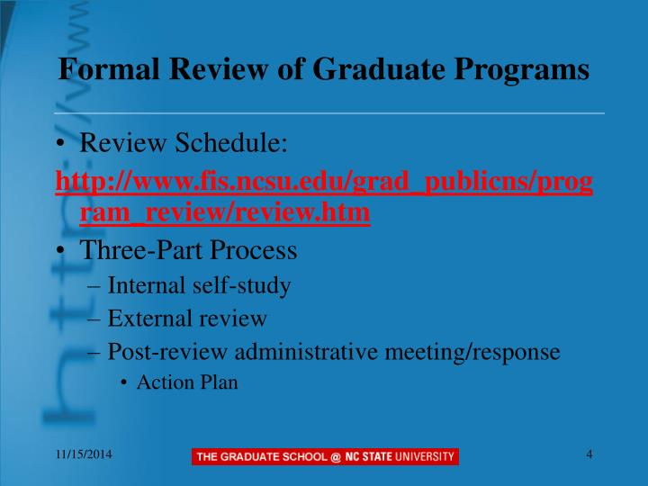 Formal Review of Graduate Programs