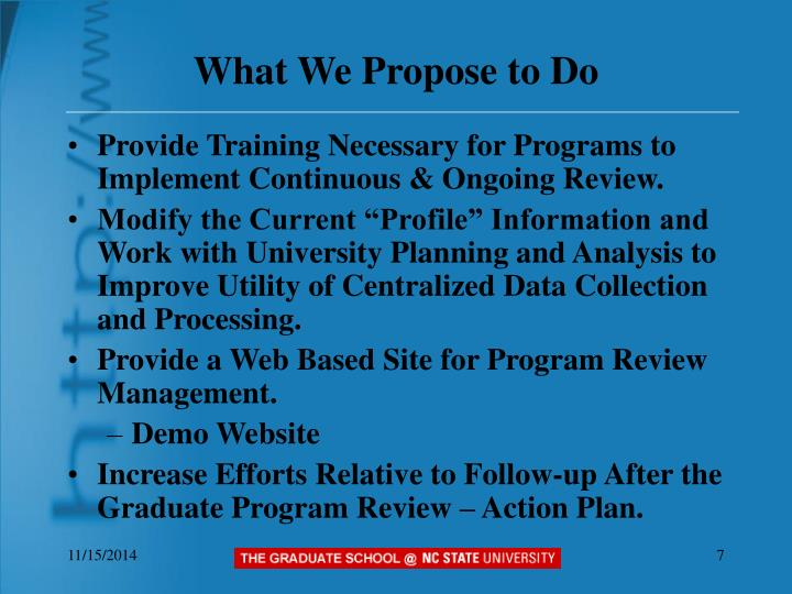 What We Propose to Do