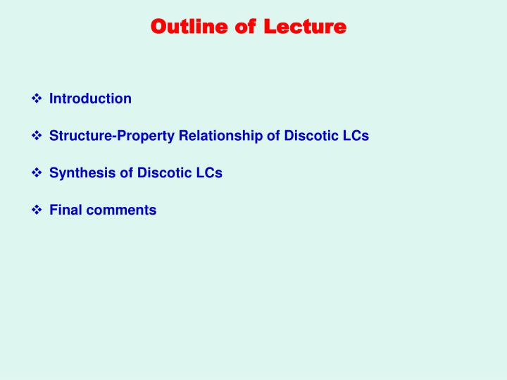 Outline of lecture
