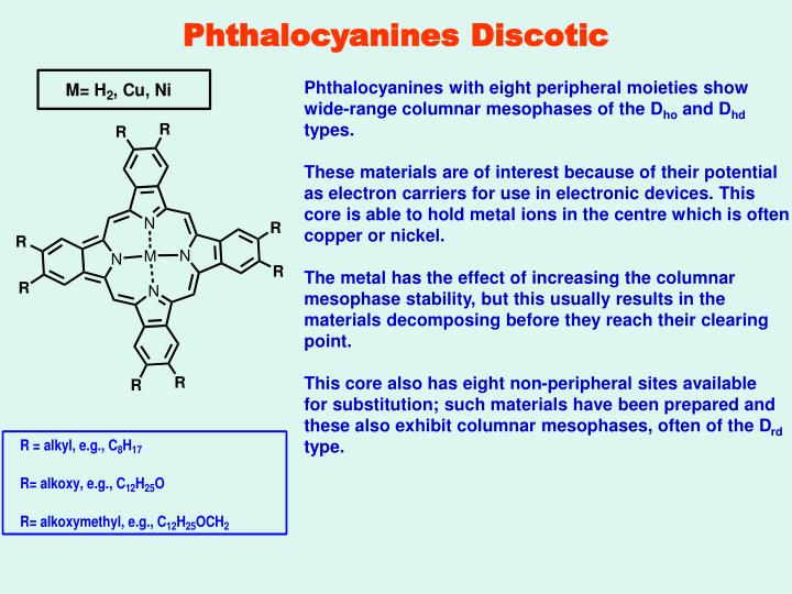Phthalocyanines Discotic