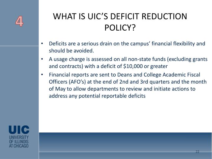 WHAT IS UIC'S DEFICIT REDUCTION POLICY?
