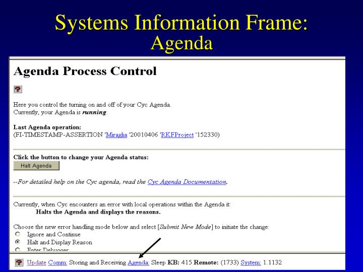 Systems Information Frame: