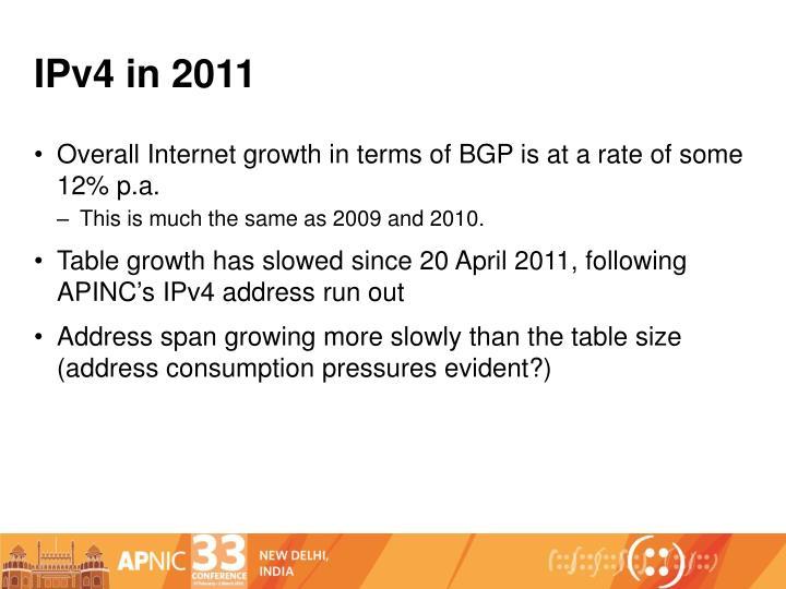 IPv4 in 2011
