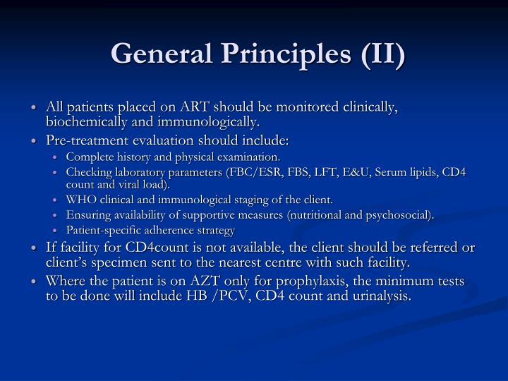 General Principles (II)