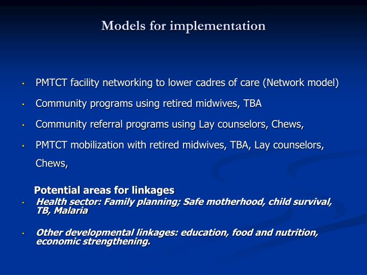 Models for implementation