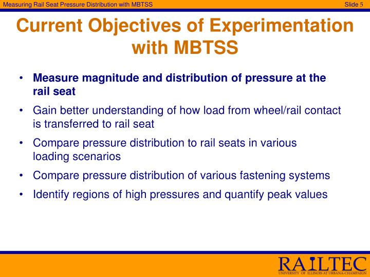 Current Objectives of Experimentation with MBTSS
