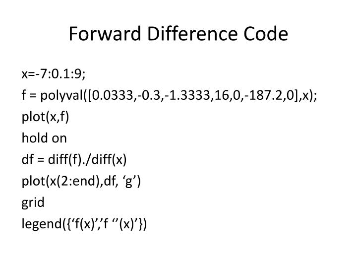 Forward Difference Code