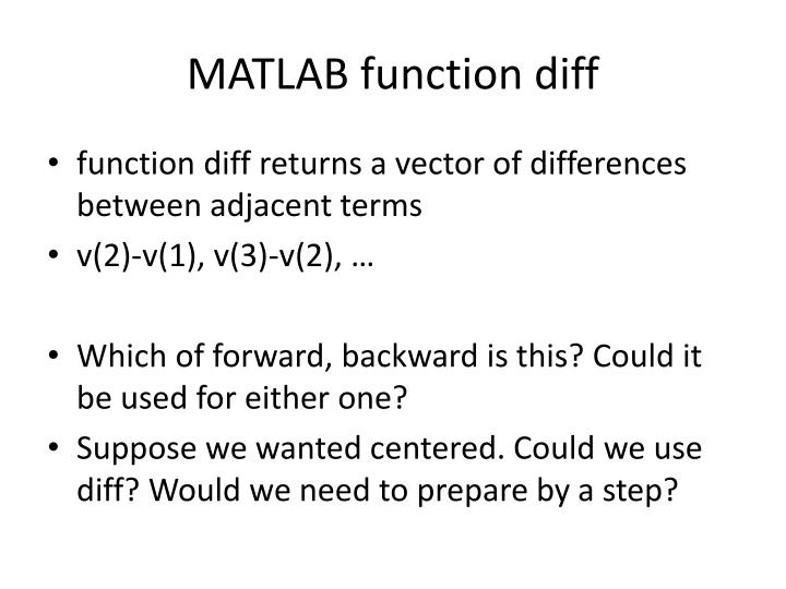 MATLAB function diff