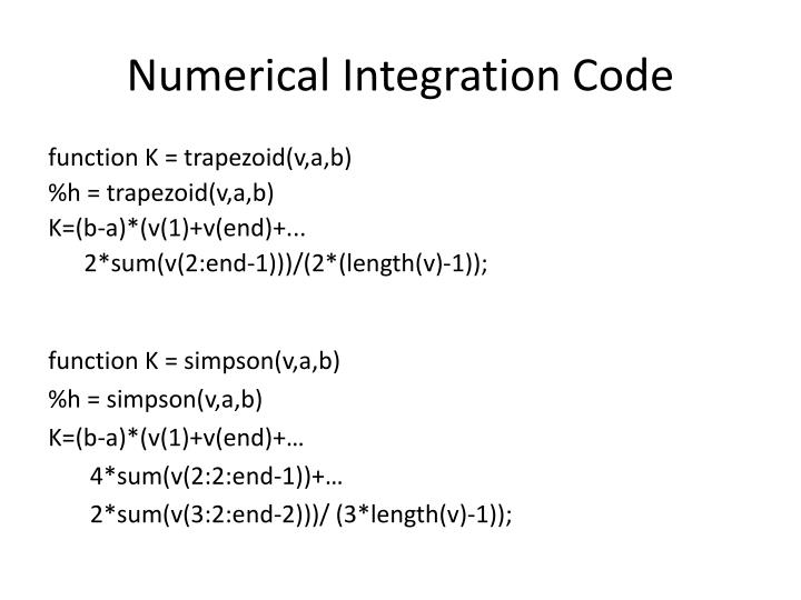 Numerical Integration Code