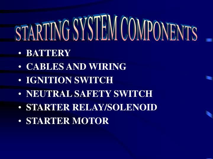 STARTING SYSTEM COMPONENTS