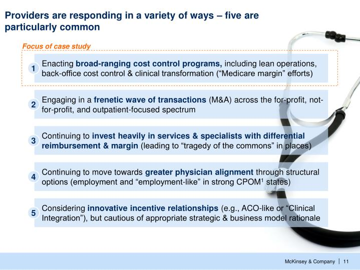 Providers are responding in a variety of ways – five are