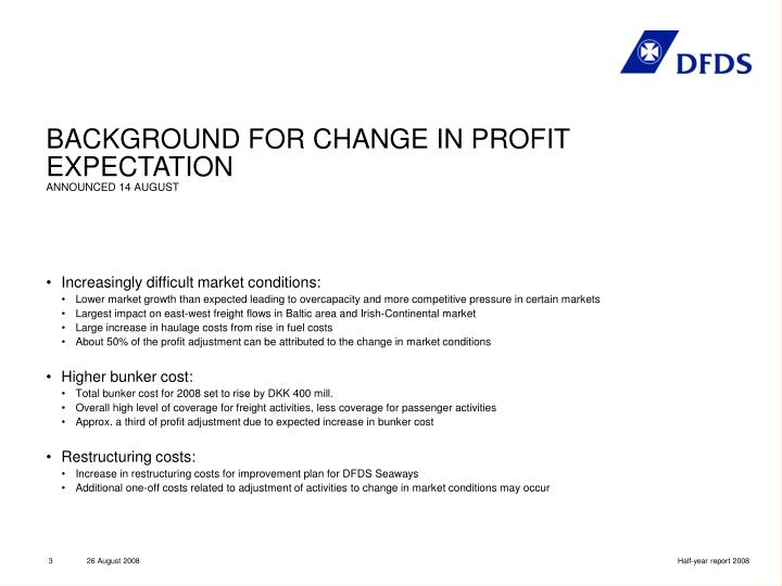 BACKGROUND FOR CHANGE IN PROFIT EXPECTATION