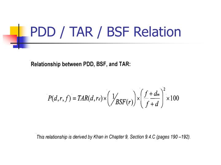 PDD / TAR / BSF Relation