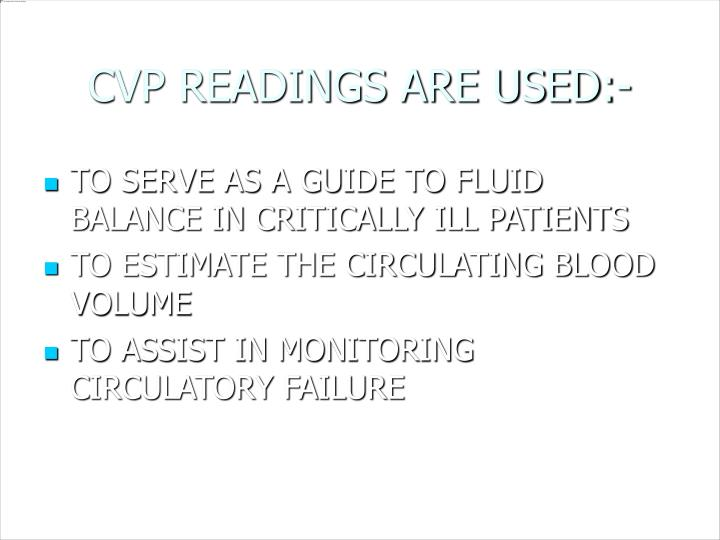 CVP READINGS ARE USED:-