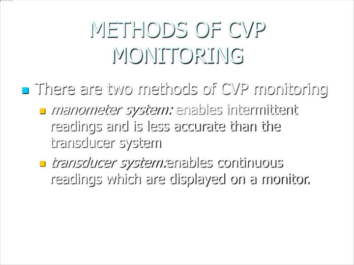 METHODS OF CVP MONITORING