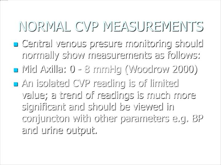NORMAL CVP MEASUREMENTS