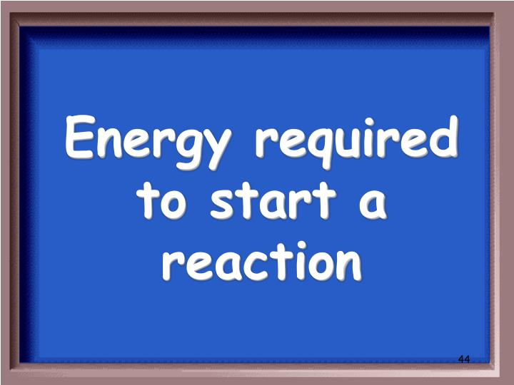 Energy required to start a reaction