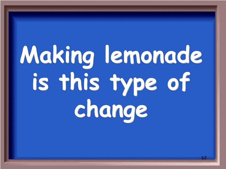 Making lemonade is this type of change
