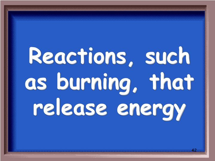 Reactions, such as burning, that release energy