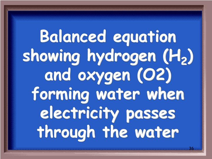 Balanced equation showing hydrogen (H